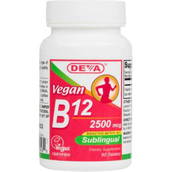 Deva Vegan Vitamins Sublingual B12 2500 mcg (1x90 Tablets)