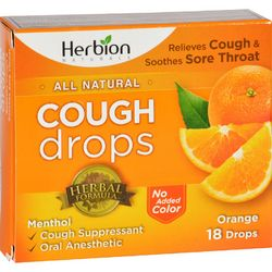 Herbion Naturals Cough Drops  All Natural  Orange  18 Drops