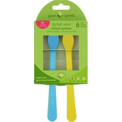 Green Sprouts Infant Spoons  Sprout Ware  6 Months Plus  Aqua Assorted  6 Pack