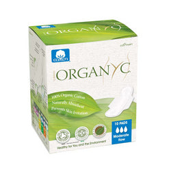 Organyc Cotton Feminine Pads Maternity Pads with Wings (1x10 Count)