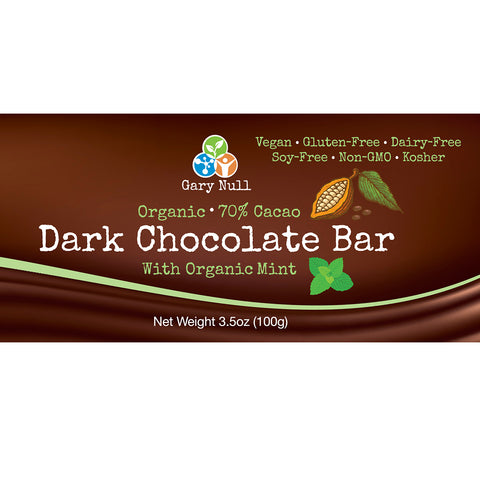 Organic Mint Dark Chocolate Bar 70%, 3.5 oz (x 6 bars)