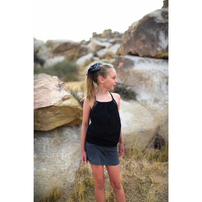 Girls Double Layer Tank - Black