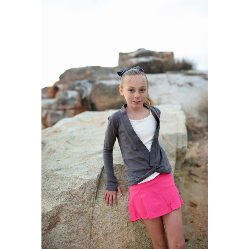 Girls Crossover Shrug - Dark Gray