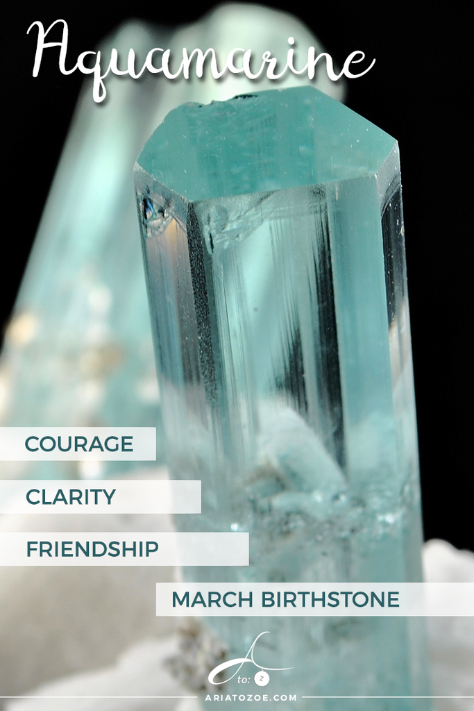 aquamarine graphic labeled courage, clarity, friendship, march birthstone