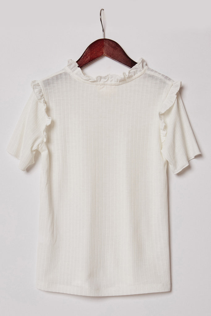 G11058-OFF WHITE Ruffle Collar Knit Top Back