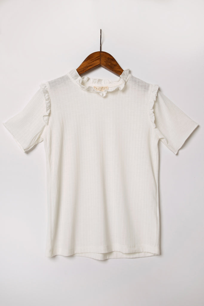 G11058-OFF WHITE Ruffle Collar Knit Top Alternate Angle