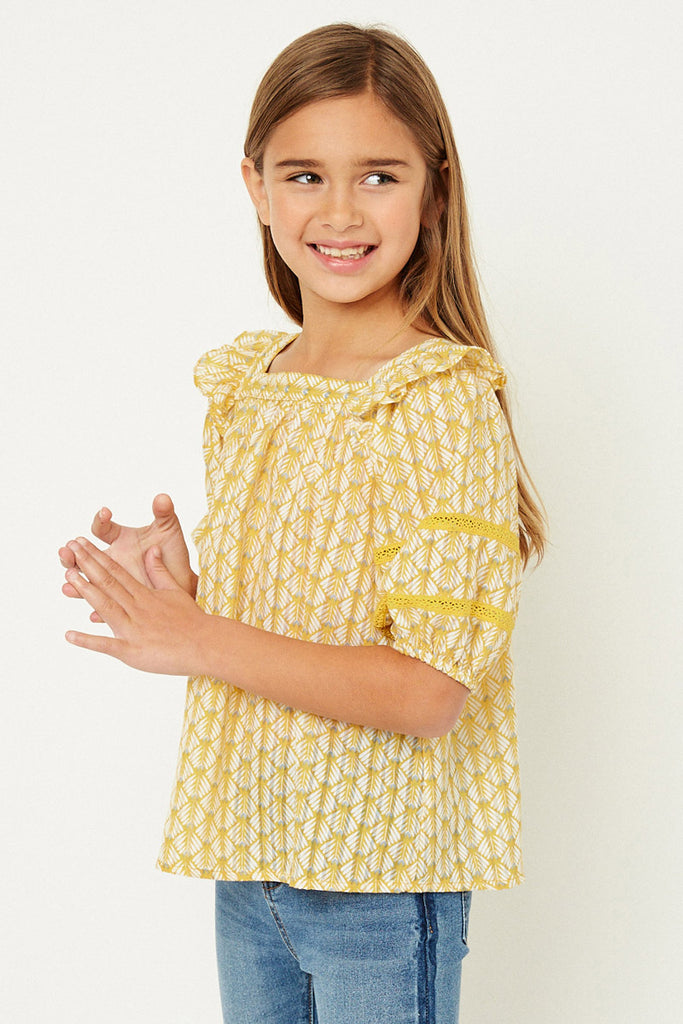 G11090-MUSTARD Printed Puff Sleeve Top Front