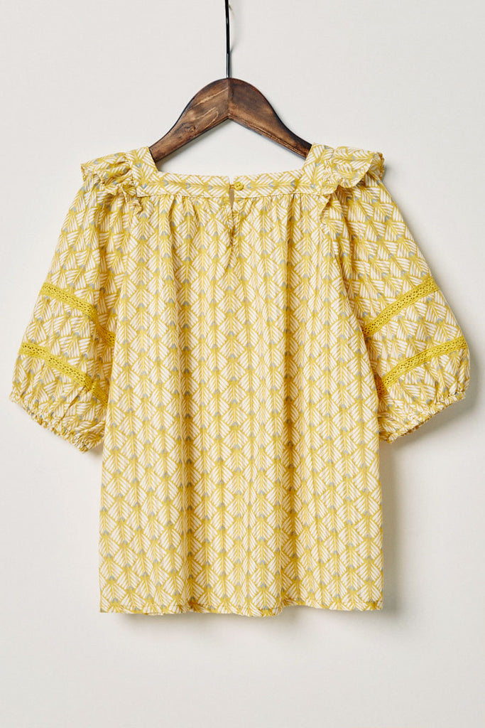 G11090-MUSTARD Printed Puff Sleeve Top Back