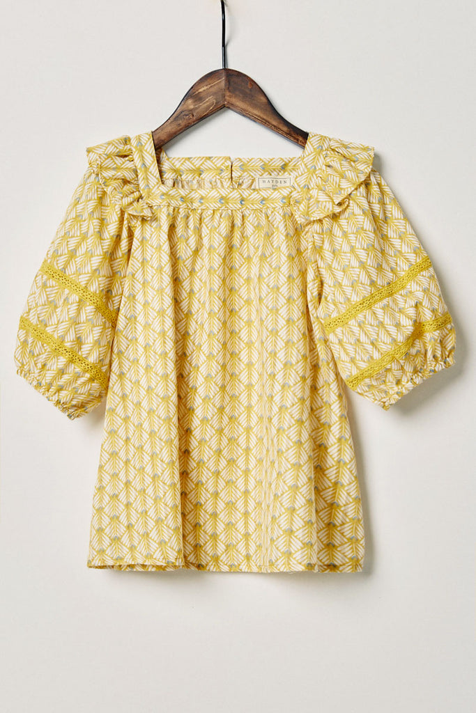 G11090-MUSTARD Printed Puff Sleeve Top Alternate Angle
