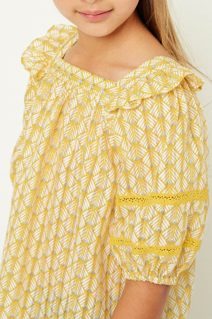 G11090-MUSTARD Printed Puff Sleeve Top Front Detail