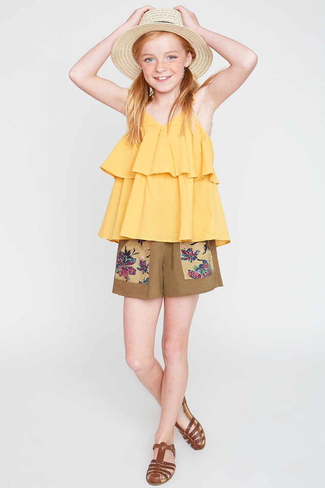 G2245 Olive Girls Floral Printed French Terry Shorts Full Body