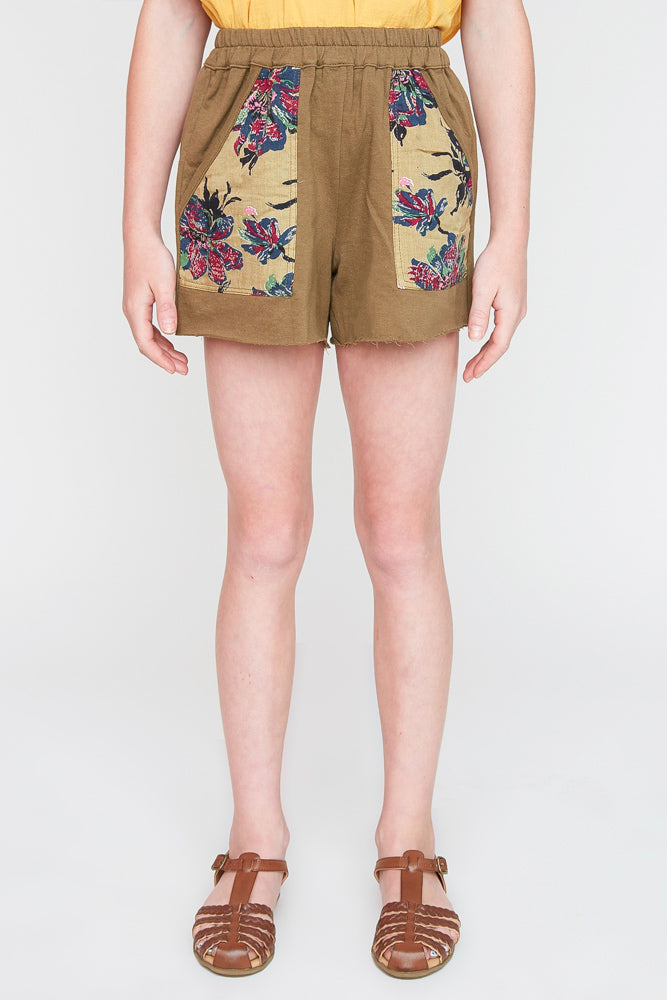 G2245 Olive Girls Floral Printed French Terry Shorts Front