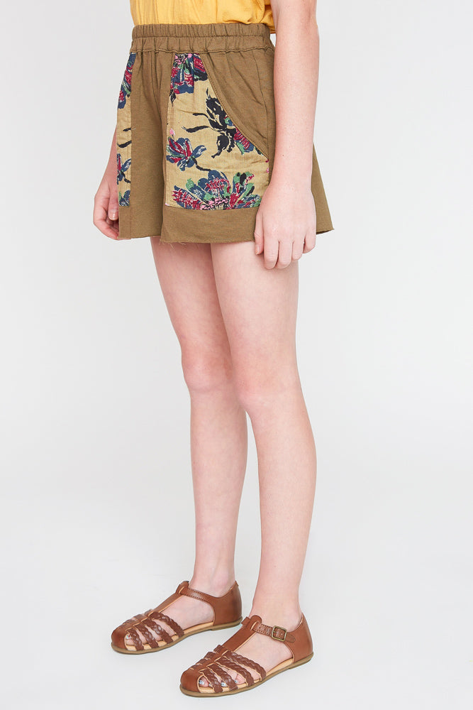 G2245 Olive Girls Floral Printed French Terry Shorts Side