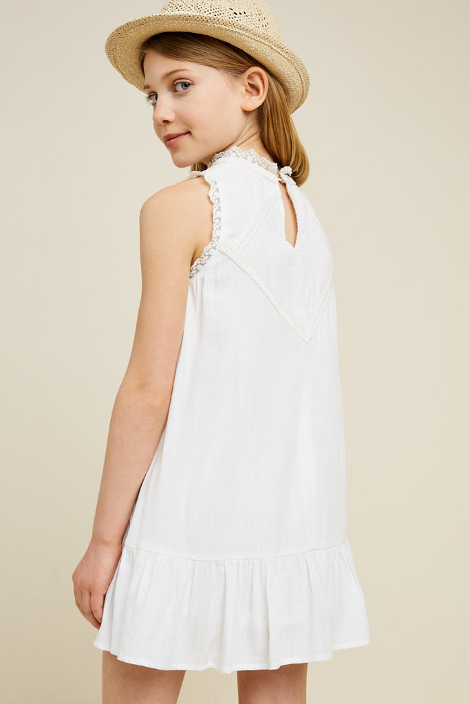 G3534-OFF WHITE Sleeveless Mini Lace Tunic Back
