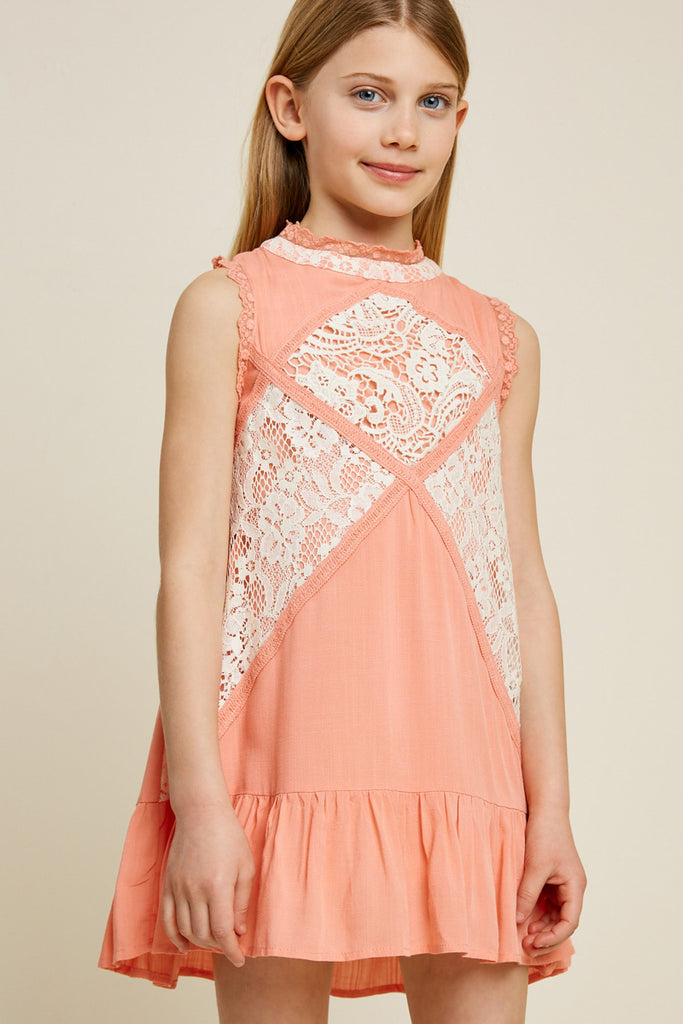 G3534-PEACH-Sleeveless Mini Lace Tunic Front