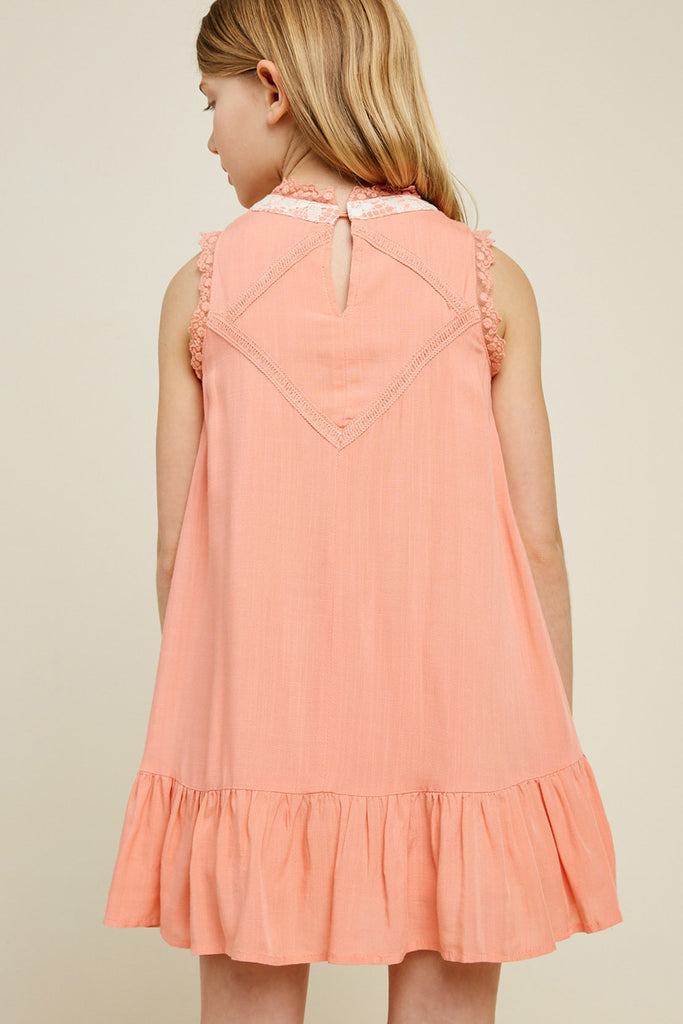 G3534-PEACH Sleeveless Mini Lace Tunic Back