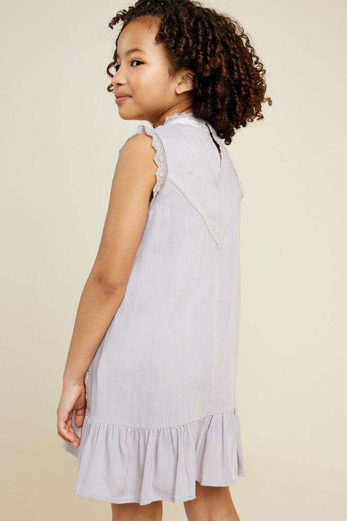 G3534-SILVER Sleeveless Mini Lace Tunic Back