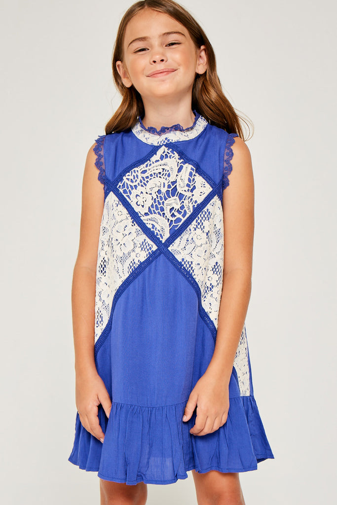 G3534 COBALT BLUE Sleeveless Mini Lace Tunic Front