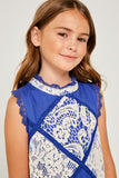 G3534 COBALT BLUE Sleeveless Mini Lace Tunic Back