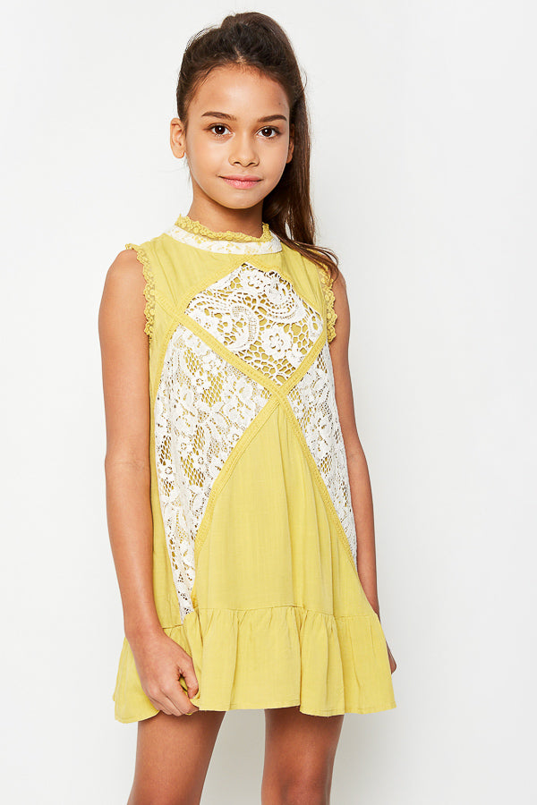 G3534 MUSTARD Sleeveless Mini Lace Tunic Front