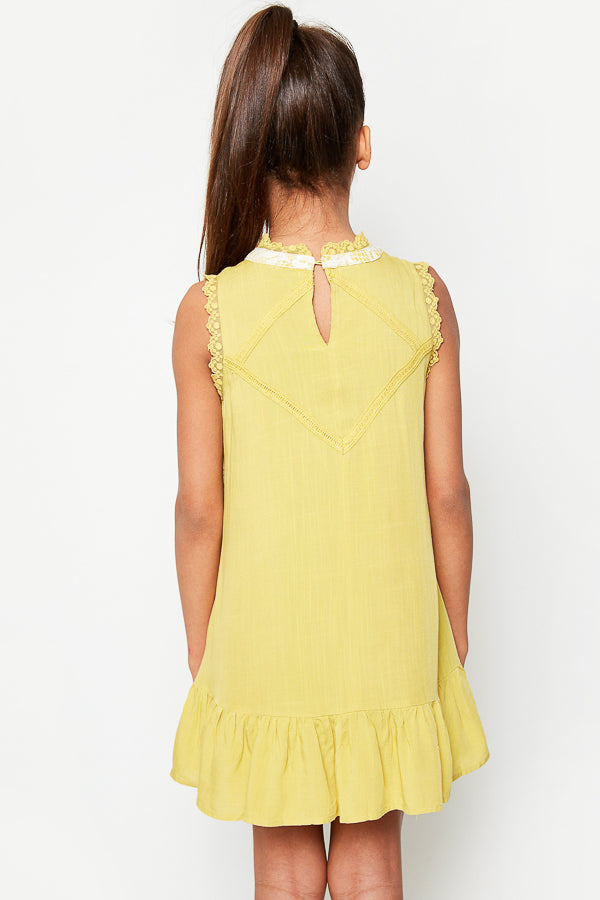 G3534 MUSTARD Sleeveless Mini Lace Tunic Back