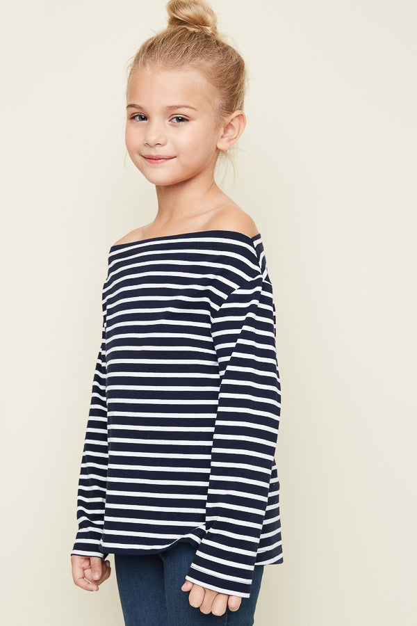 G3906 NAVY Off The Shoulder Striped Top Alternate Angle