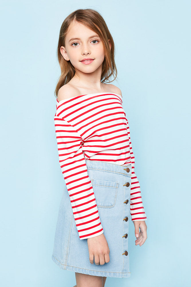 G3906 Red Girls Off The Shoulder Striped Long Sleeve Side 2