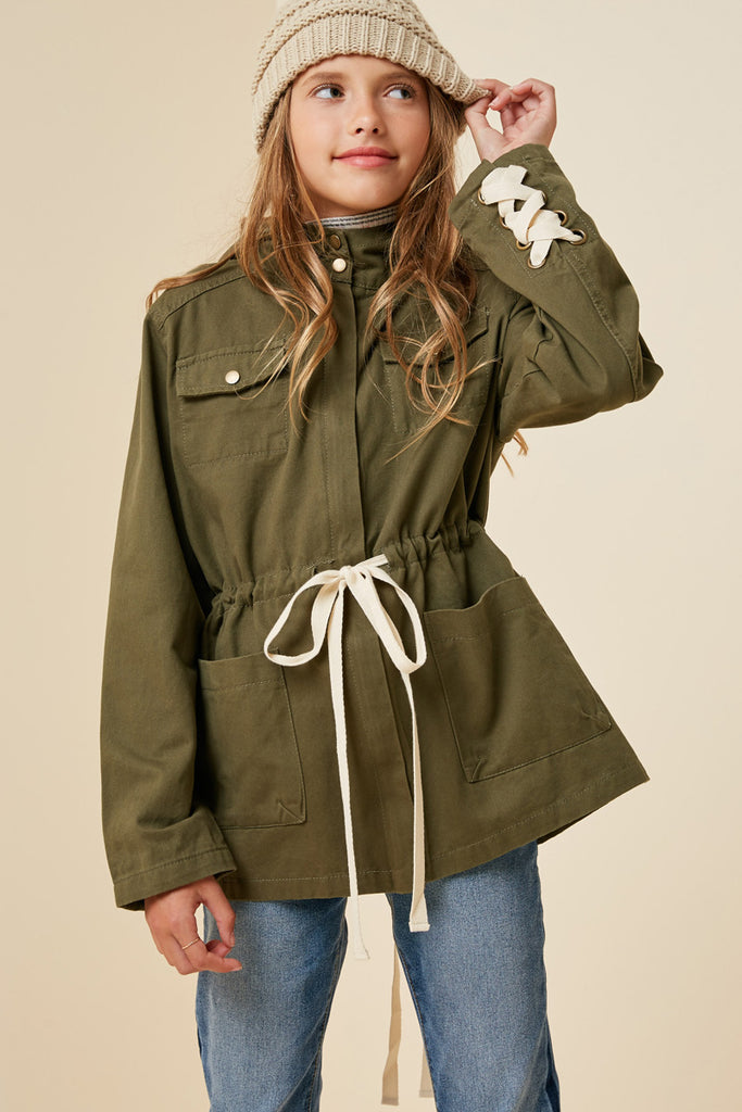 G3995-OLIVE Lace-Up Hooded Cargo Jacket Front
