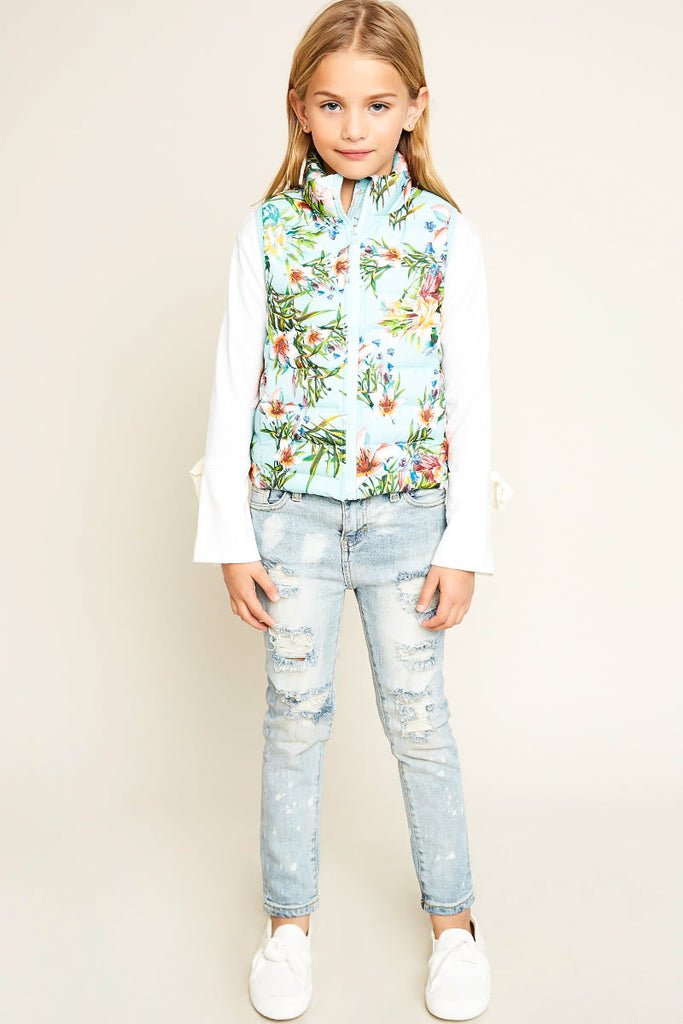 G4103 MINT Floral Print Sleeveless Puffer Vest Back