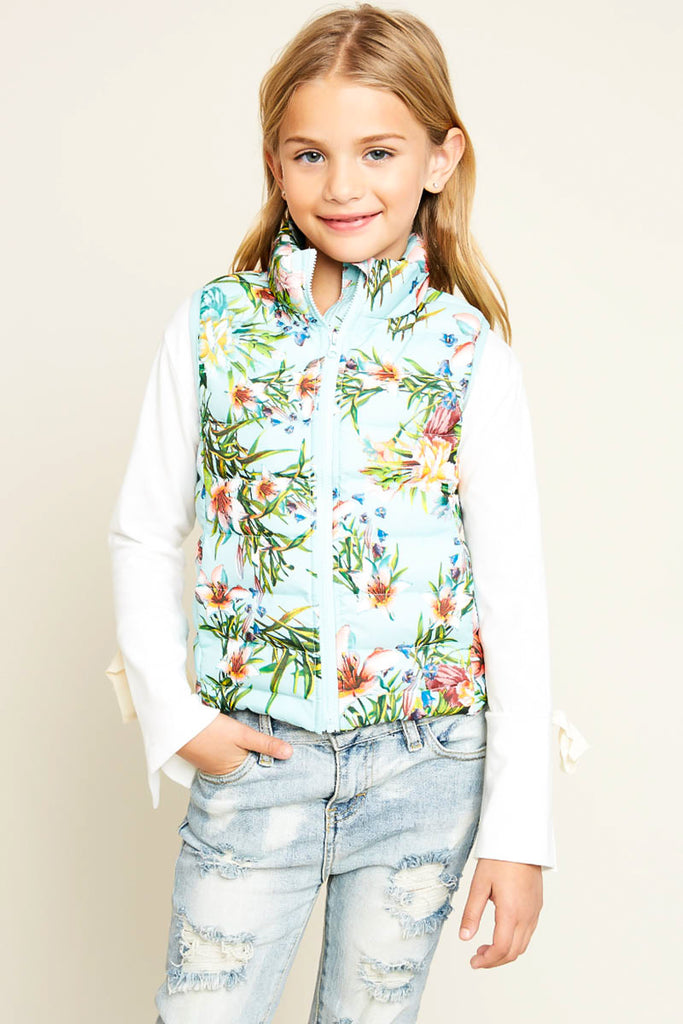 G4103 MINT Floral Print Sleeveless Puffer Vest Alternate Angle