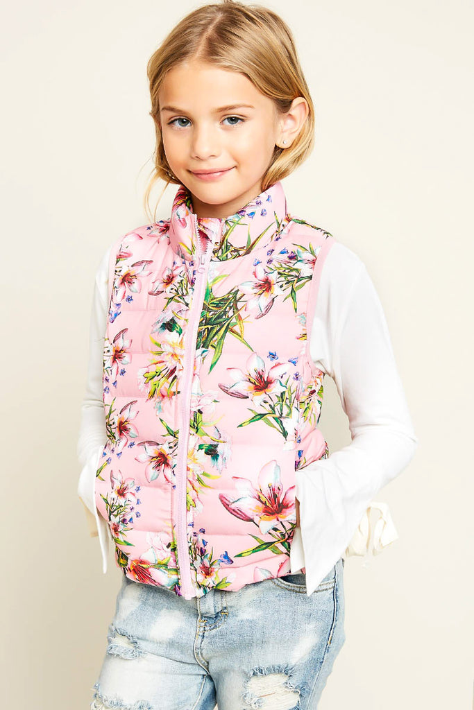 G4103 Pink Girls Floral Print Sleeveless Puffer Vest Back