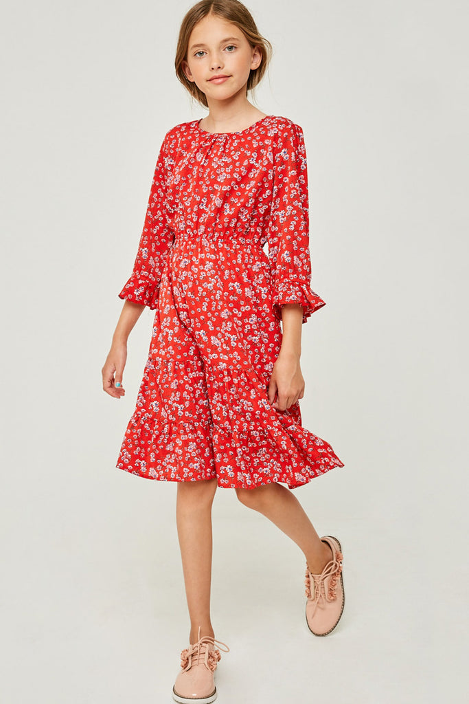 G4259 Red Girls Floral Ruffle Fit and Flare Midi Dress Full Body