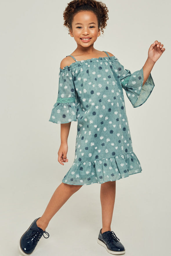 printed off the shoulder ruffle dress Sage 5
