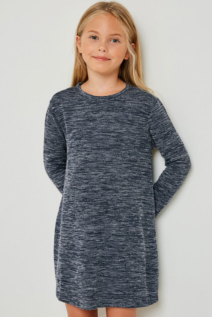 G4269-NAVY Long Sleeve Heathered Ribbed Dress Front