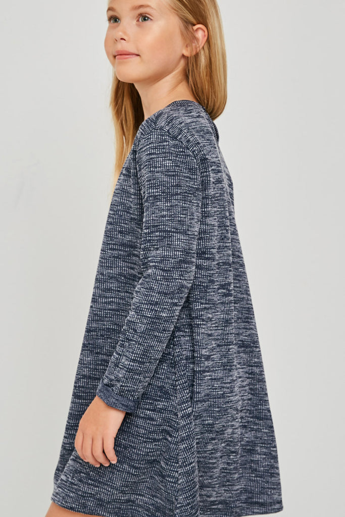 G4269-NAVY Long Sleeve Heathered Ribbed Dress Side