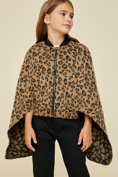 Leopard Zip-Up Cape Jacket