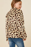 G4286-LEOPARD Leopard Fleece Mock-Neck Pullover Sweater Back