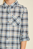 G4336-NAVY Embroidered Plaid Button-Down Top Front Detail