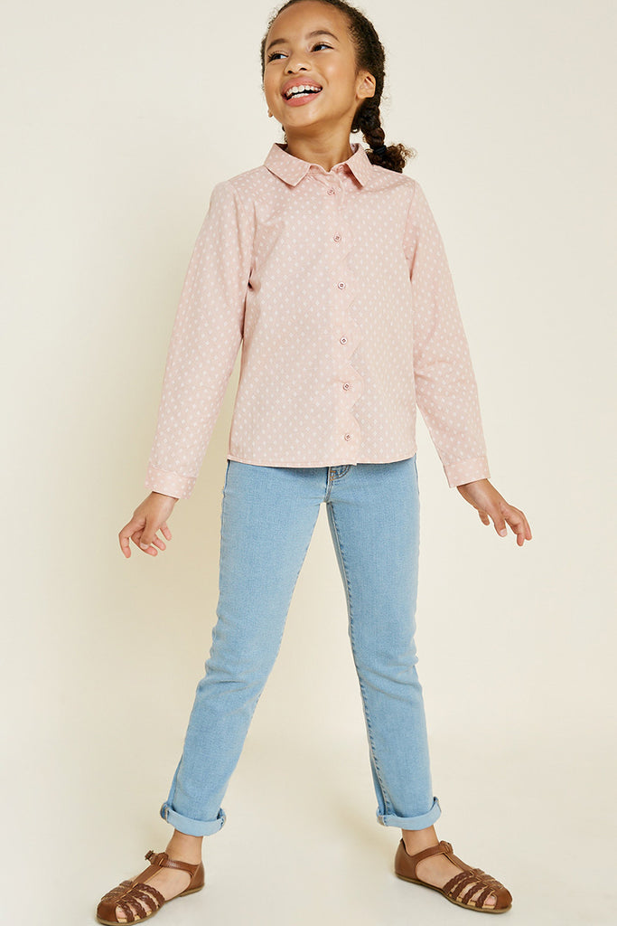 printed button down scallop top 1 Pink 8