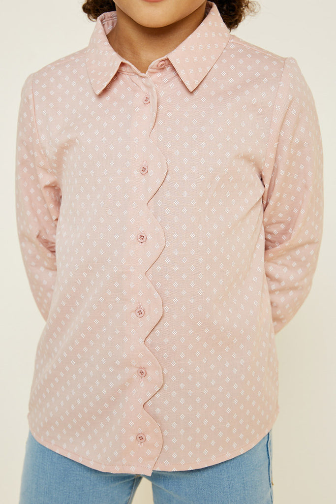 printed button down scallop top 1 Pink 9