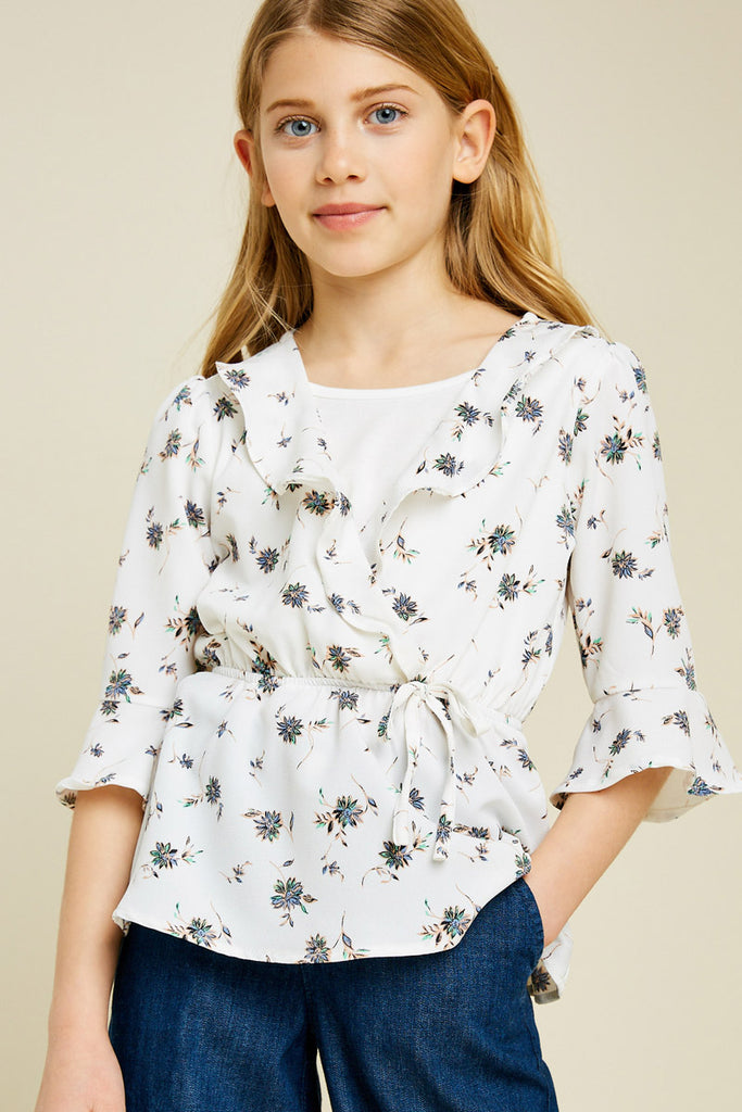 G4461-OFF WHITE Floral Surplice Ruffle Peplum Top Front