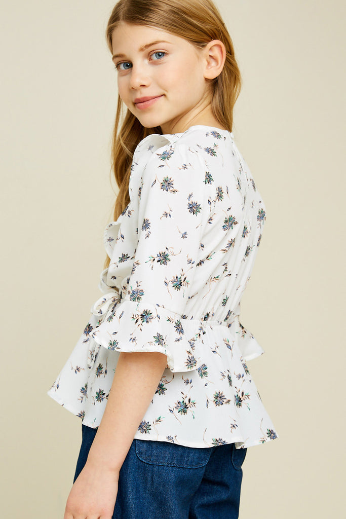 G4461-OFF WHITE Floral Surplice Ruffle Peplum Top Back