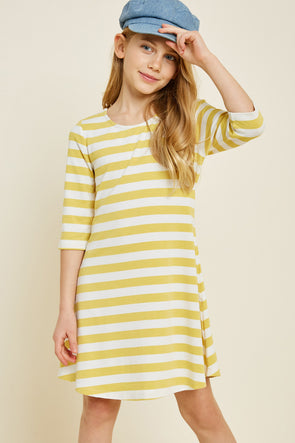 Button Down Cross-Back Stripe Dress