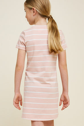 Striped Corset Lace-Up T-Shirt Dress