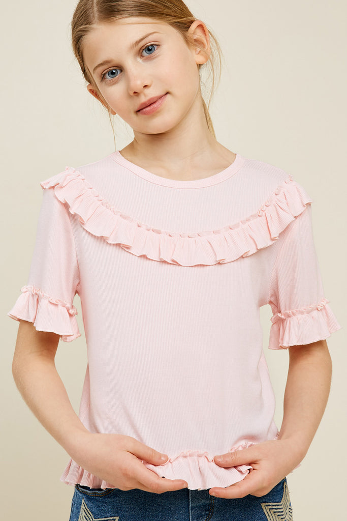 G4519-LIGHT PINK Ribbed Ruffle Knit Top Front
