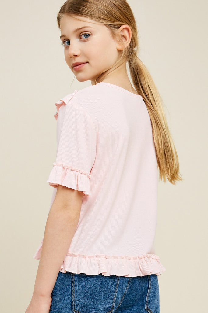 G4519-LIGHT PINK Ribbed Ruffle Knit Top Back