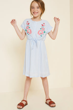 Sky Stripe Floral Embroidered Tie-Front Dress Full Body
