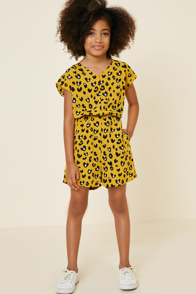G4572-MUSTARD Leopard Pocket Romper Back Detail