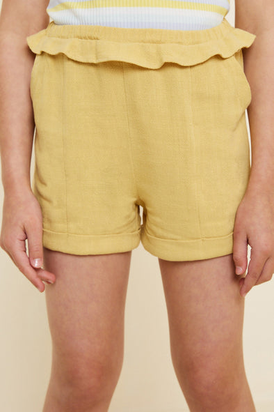 Honey Linen Ruffle Trouser Shorts Front