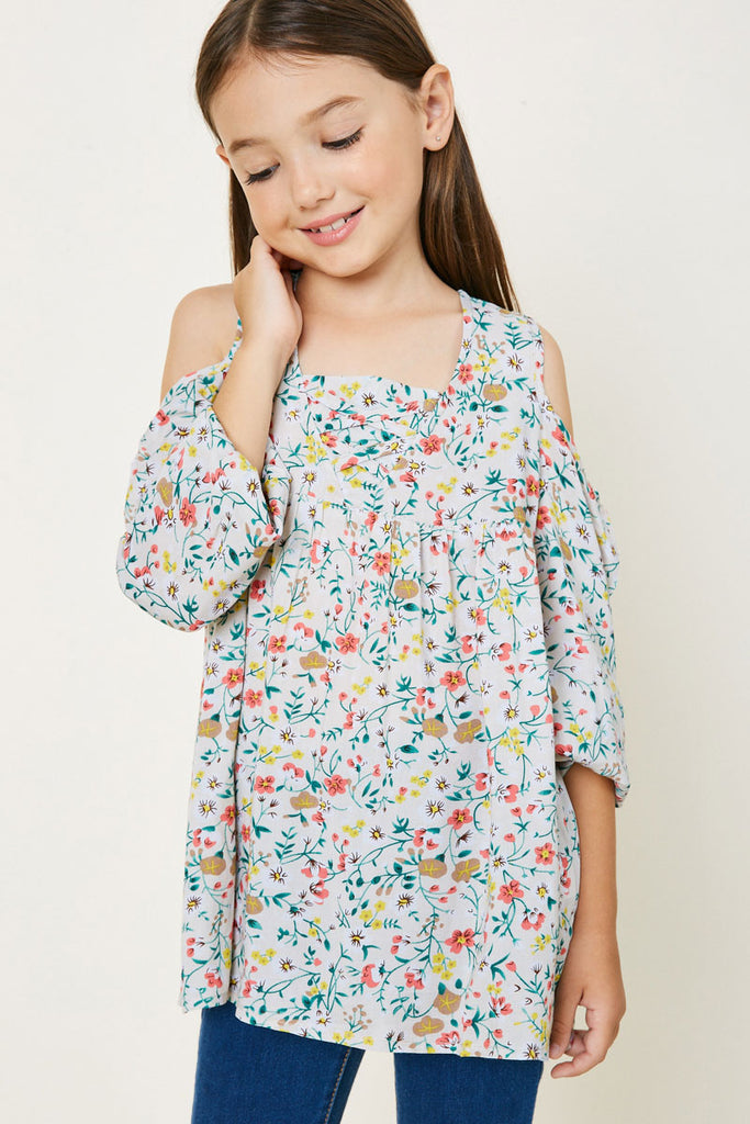 Ivory Floral Cold Shoulder Tunic Top Front